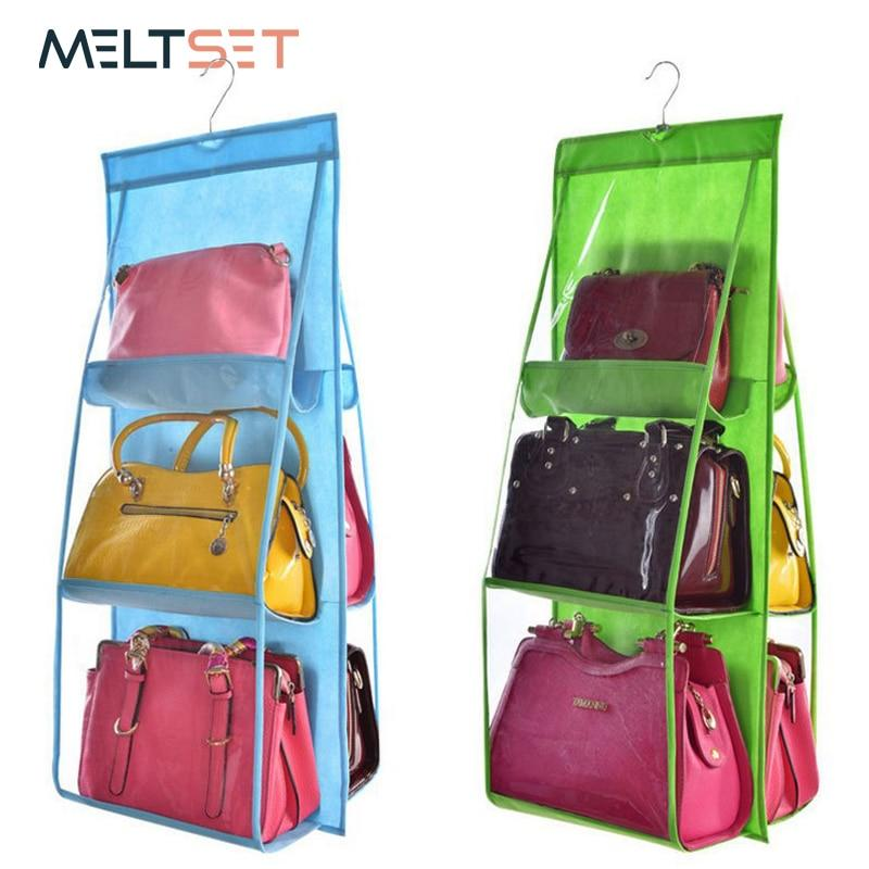 6 Pocket Hanging Handbag Organizer for Closet Organization