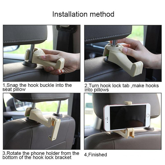 Car Headrest Hooks with Phone Holder