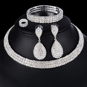 4 PCS Luxury Wedding Bridal Jewelry Sets for Brides Women Necklace Bracelet Ring Earring Set Elastic Rope Silver Crystal Jewelry