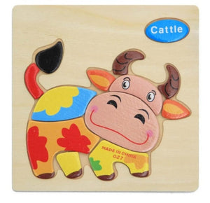 3D Wooden Puzzle Jigsaw Toys For Children Wood 3d Cartoon Animal  Puzzles Intelligence Kids Early Educational Toys for children