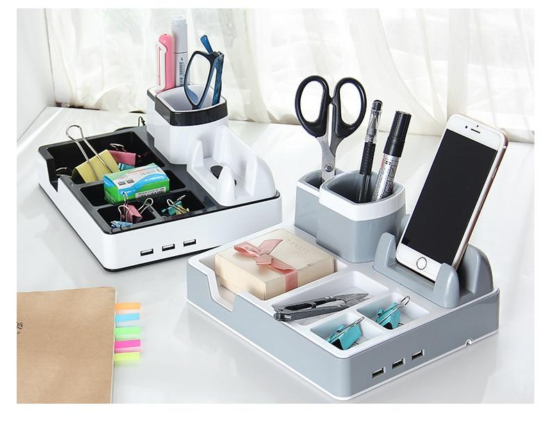 Desk Organizer and Accessories Holder with Charging Function