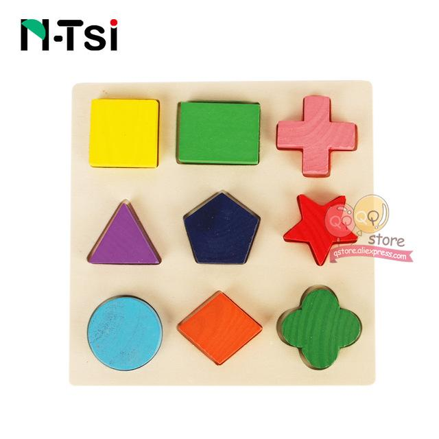 N-Tsi Wooden Geometric Shapes Sorting Math Montessori Puzzle Preschool Learning Educational Game Baby Toddler Toys for Children