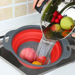 Collapsible Kitchen Colander & Washing Basket - Fruit, Meat & Vegetable Strainer/Drainer