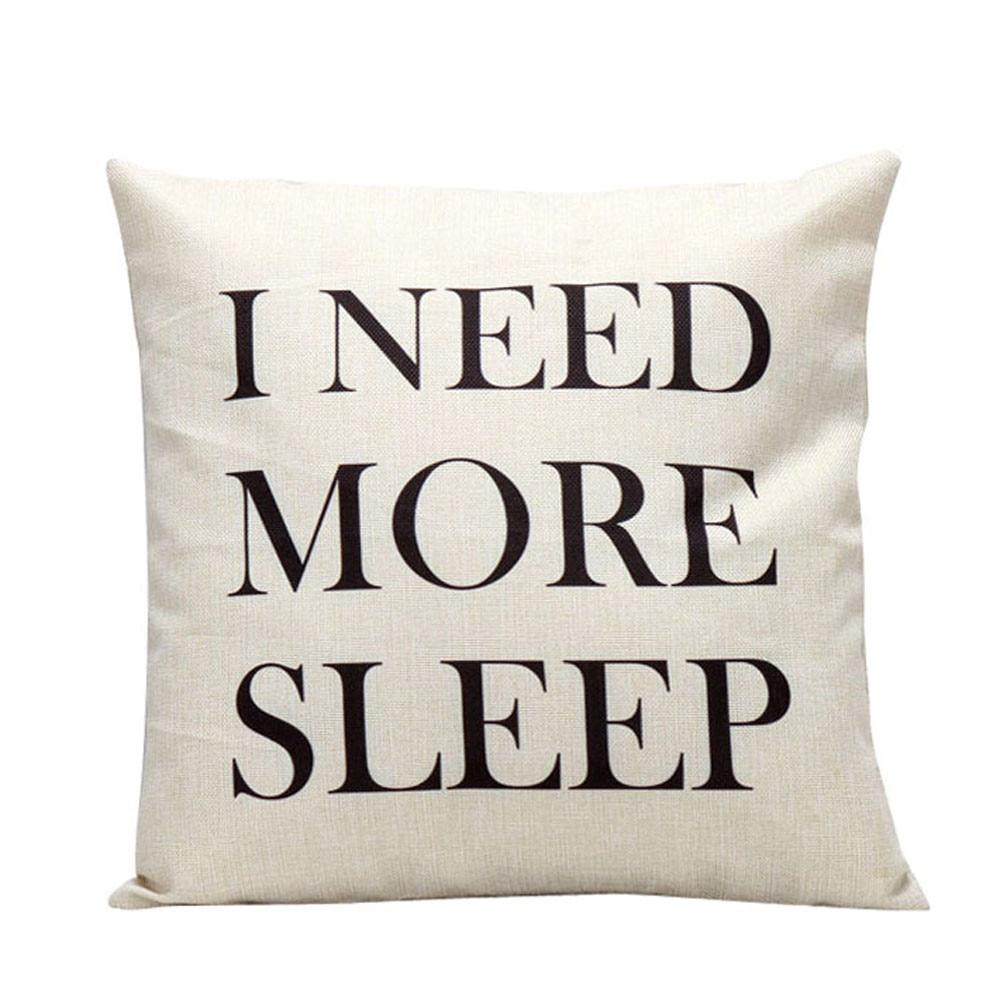 "Gajjar 45*45 Square Inflatable Decorative Pillow with words ""I Need More Sleep"""