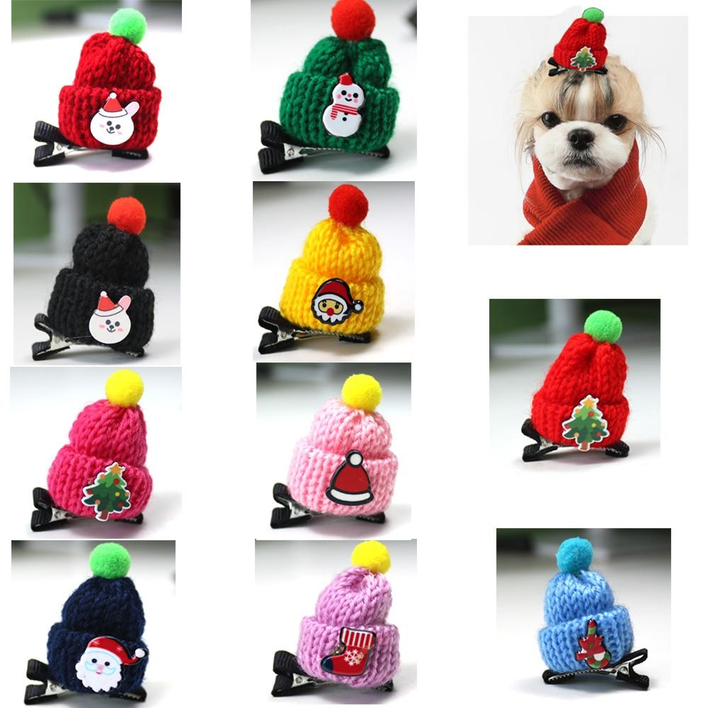 10ps Christmas Pet Hair Accessories Santa Claus Snowman Caps Pet Dog Hair Bows Alloy clip  Christmas Pet Dog Grooming Products