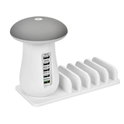5 Port USB Quick Charging Station with Device Tray & Night Light