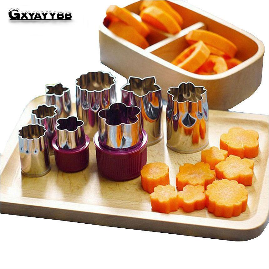 GXYAYYBB Flower Shape Cutter 1 Set 8 Kind Cutting Pattern DIY Fruit Vegetable Carving Tool  Kitchen Accessories Cooking Tools