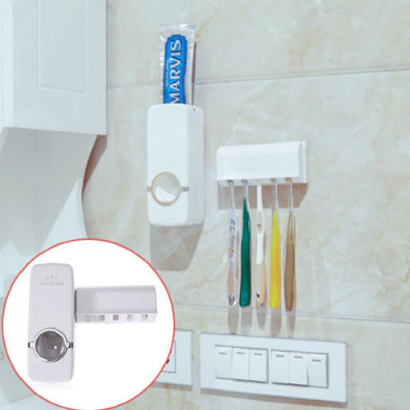 Automatic Toothpaste Dispenser and Tooth Brush Holder Set