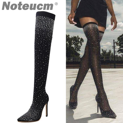 Sexy Sequin Cloth Stocking Thigh High and Heel over the Knee Boot Elastic