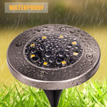 4PCS Waterproof Solar Powered Disk Lights - 8 LED's