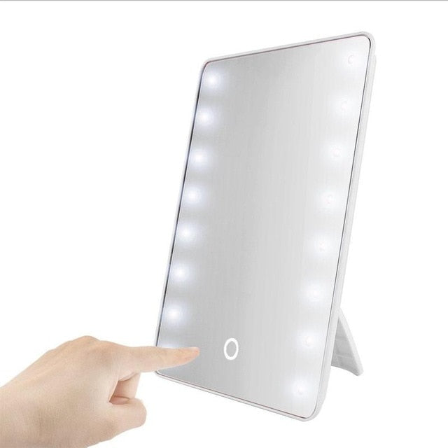 Portable Makeup & Cosmetic Mirror with 16 LEDs with Touch Dimmer Switch