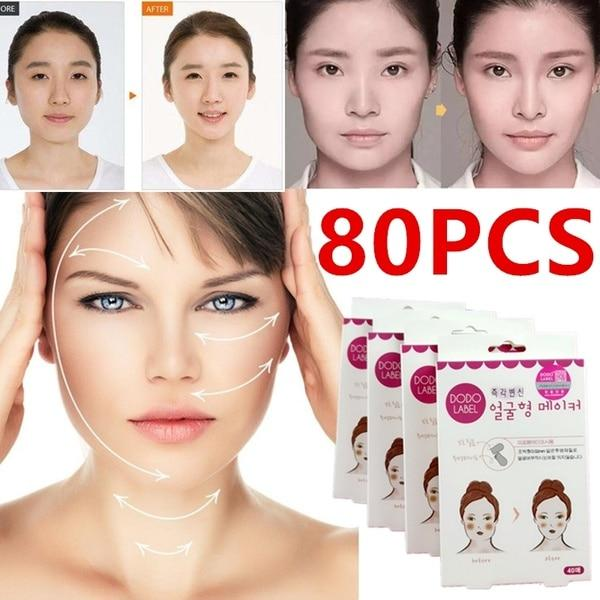 80pc Face Lift Sticker Thin Face Stick Face Artifact Invisible Sticker Lift Chin Medical Tape Makeup Face Lift Tools Health Care