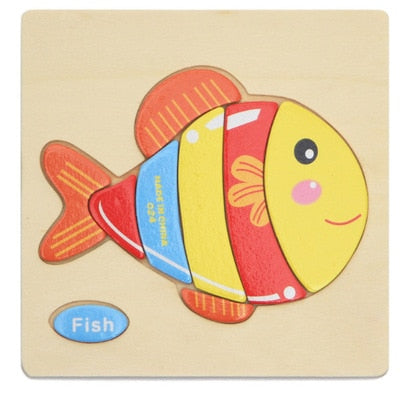 1pc Wooden 3D Puzzle Jigsaw Wooden Toys For Children Cartoon Animal Puzzles Intelligence Kids Children Educational Toy