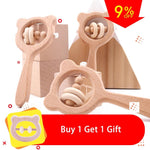 Let's Make Baby Toys Beech Wood Bear Hand Teething Wooden Ring Baby Rattles Play Gym Montessori Stroller Toys Educational Toys