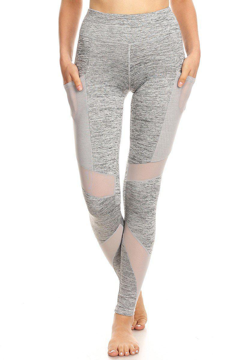 Grey Women's High Waist Yoga Pants/Leggings with Mesh Pockets
