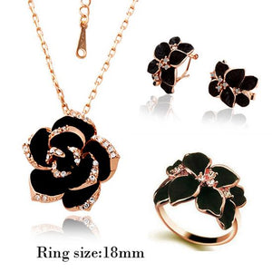 Fashion Rose Flower Enamel Jewelry Set Gold Color Black Painting Bridal Jewelry Sets for women 82606