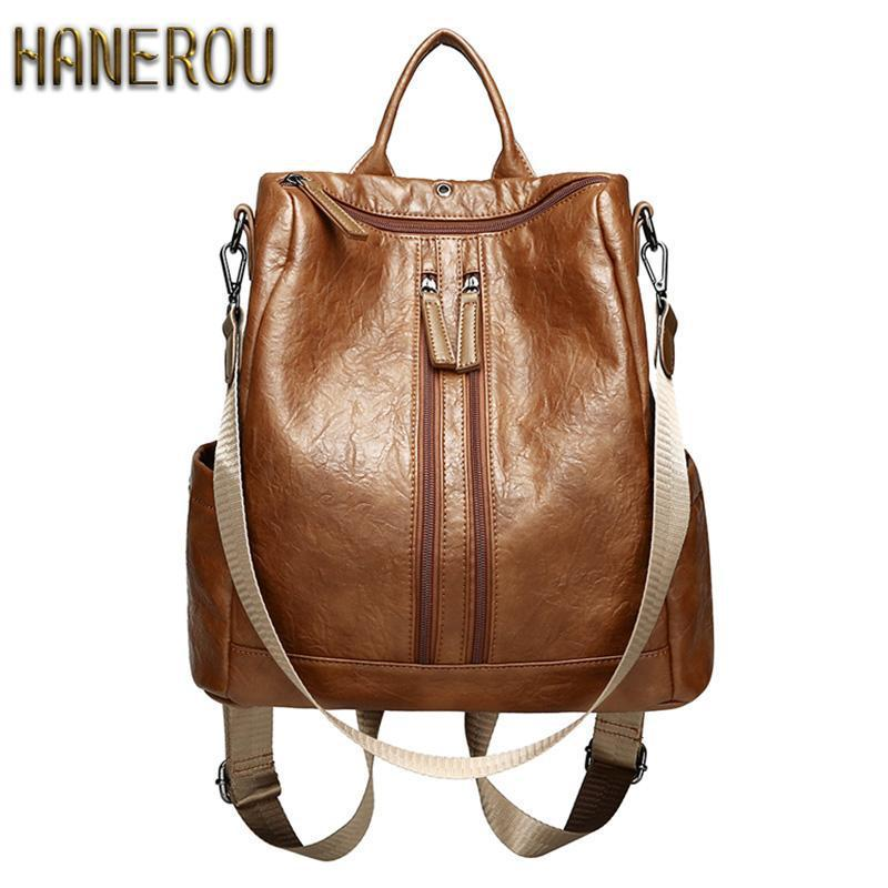 Women's Mochila Escolar Leather Backpack - School Bags