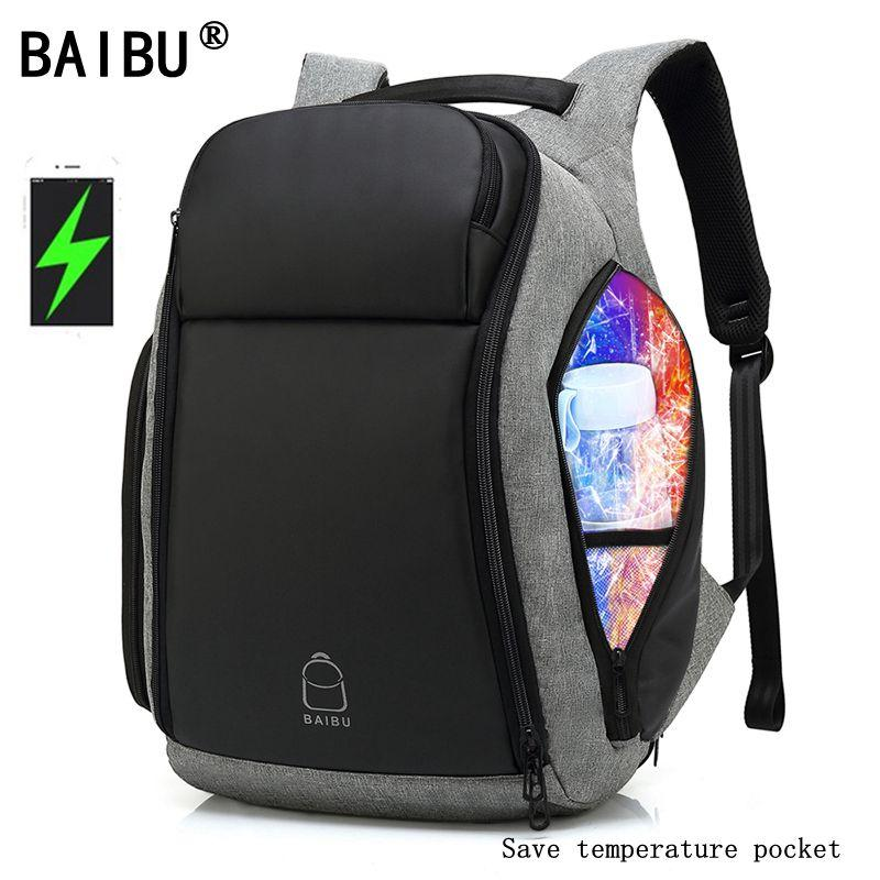 "BAIBU Men's Anti-theft USB Charging Backpack for 17"" Laptops - Water Resistant"