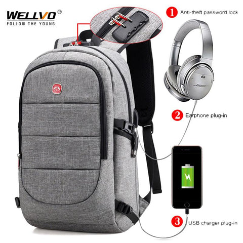 Men's External USB Charging Backpack & Headphone Plug - Anti Theft - Large Laptop Bag