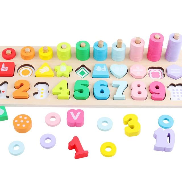 Wooden Montessori Early Math and Geometric Shapes Puzzle