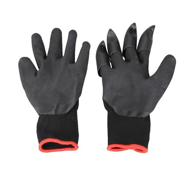 1 Pair Rubber Garden Gloves with Claws for Digging, Planting, and Raking