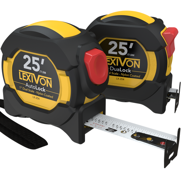 LEXIVON [2-Pack] 25Ft/7.5m Tape Measure, DuaLock & AutoLock | 1-Inch Wide Blade With Nylon Coating, Matte Finish White & Yellow Dual Sided Rule Print | Ft/Inch/Fractions/Metric (LX-204)