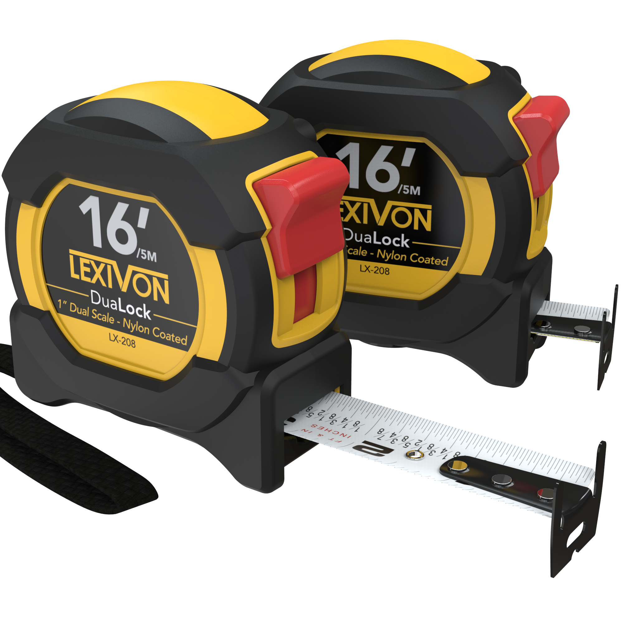 LEXIVON [2-Pack] 16Ft/5m DuaLock Tape Measure | 1-Inch Wide Blade With Nylon Coating, Matte Finish White & Yellow Dual Sided Rule Print | Ft/Inch/Fractions/Metric (LX-208)
