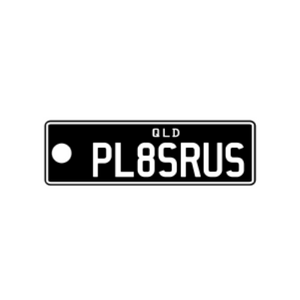 STANDARD ISSUE QLD PLATE - COLOURS ON BLACK - QLD Custom Keyring - PL8SRUS
