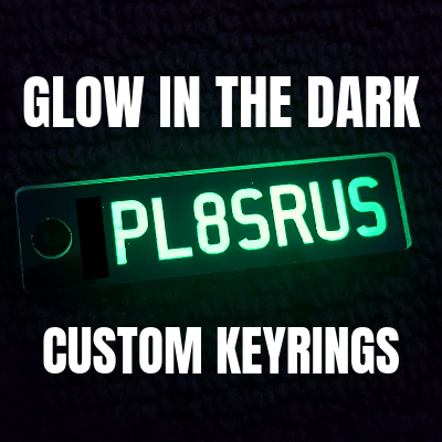 Glow in the DARK Range (All States) - Custom Keyring - PL8SRUS