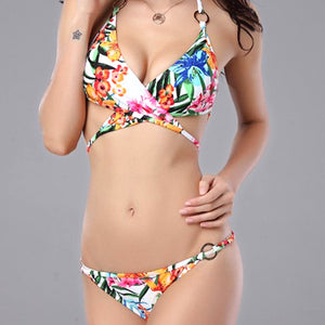 Lace-Up Floral Bikini Set