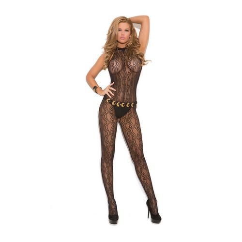 SWIRL LACE HALTER BODYSTOCKING