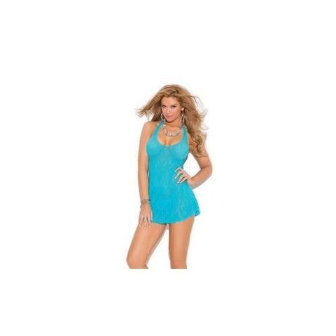 Lace Halter Mini Dress -  Turquoise - Queen Size