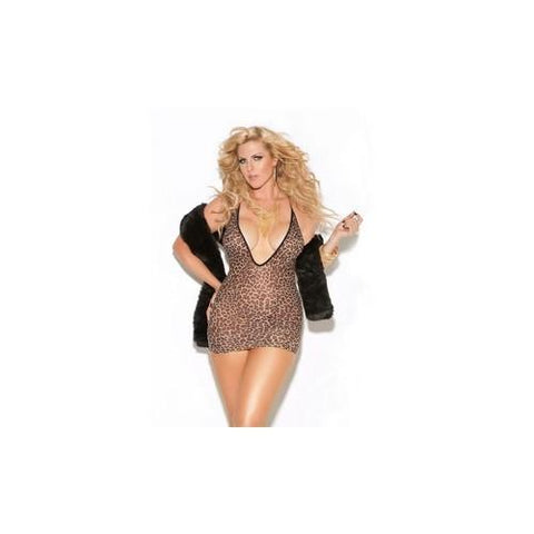 Deep V Mini Dress - Leopard - Queen Size