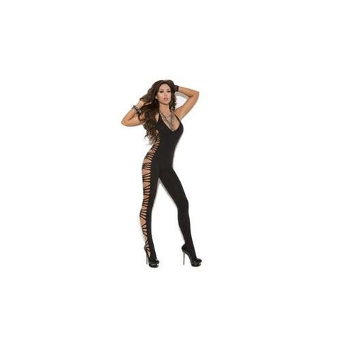Deep V Bodystocking - Black - One Size