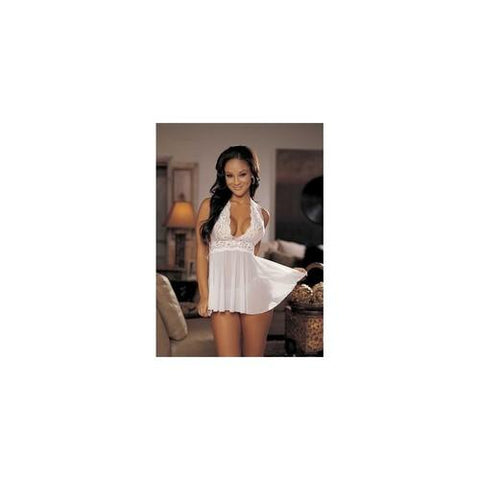 Stretch Mesh and Lace Babydoll  with Bow - White - One Size