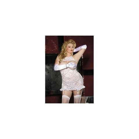 Lace Open Bust Gartered  Chemise - White - Queen Size
