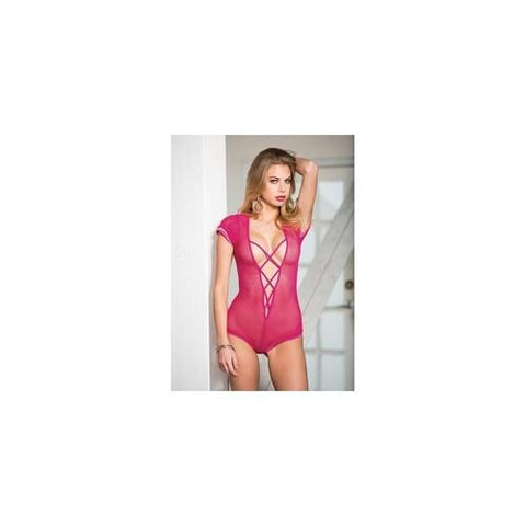 Stretch Fishnet Bodysuit - Hot Pink - One Size