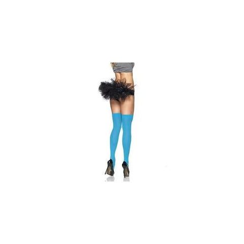 Opaque Thigh Highs - Neon Blue  - One Size