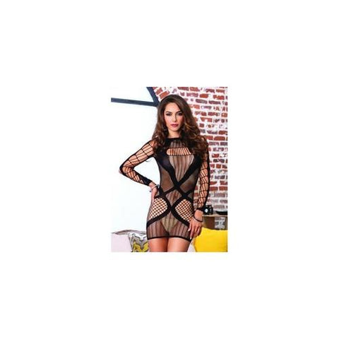 Multi Net Long Sleeved Mini Dress - Black - One Size