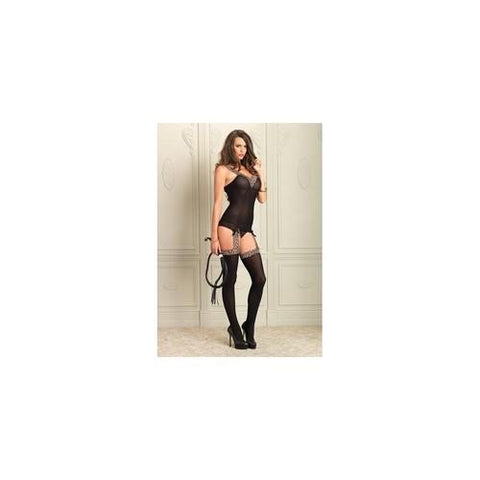 Reversible Suspender  Bodystocking - Black - One  Size