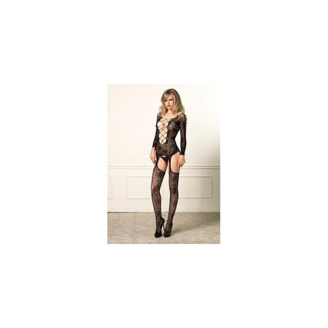 Floral Lace Deep-v Suspender  Bodystocking - Black - on  Size