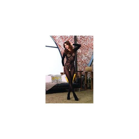 2 Pc. Opaque Long Sleeved Bodystocking - Black - One Size