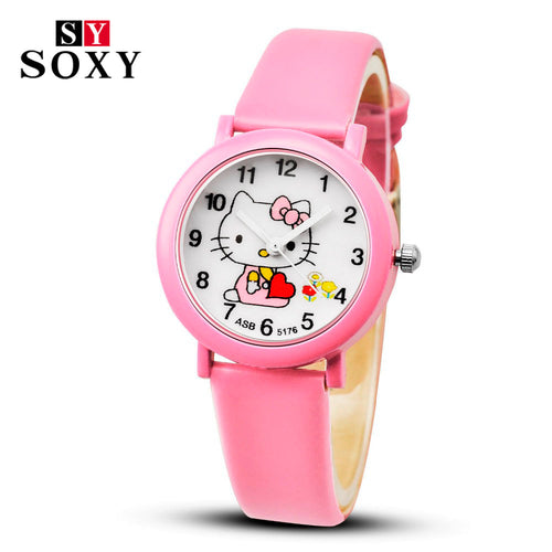 Hello Kitty Cartoon Watches Kid Girls Leather Straps