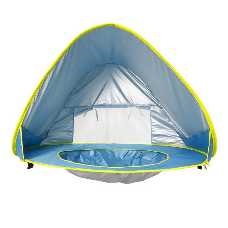 Baby beach tent uv-protecting sunshelter with a pool