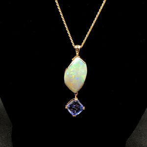 12.5ct Australian Boulder Opal Pendant with 3.73ct Flawless Tanzanite