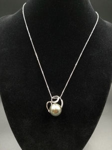 13.4MM Silver Grey Tahitian Pearl in 18kt White Gold Pendant with .35ct Diamonds