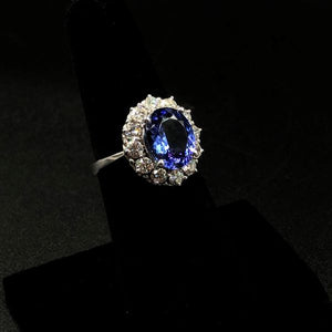 3.5ct Oval Tanzanite Ring with 1 full carat VS-SI G-H Color Diamonds