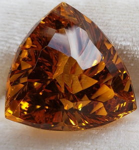 Large Citrine 33.63ct Trillon Custom Cut by Mark Gronlund.