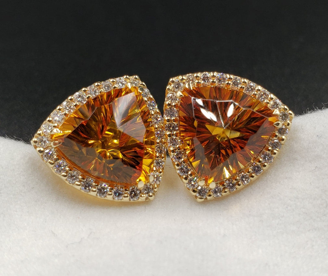 New Earrings with 8ct Total Weight Madeira Citrine Trillions Cut by Mark Gronlund with 1ct SI1 G Color Dimaonds