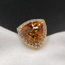 Load image into Gallery viewer, New Earrings with 8ct Total Weight Madeira Citrine Trillions Cut by Mark Gronlund with 1ct SI1 G Color Dimaonds